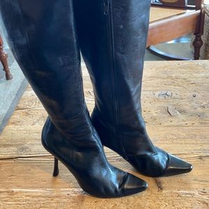 VINTAGE CHARLES JOURDAN BLACK LEATHER BOOTS SZ 9.5